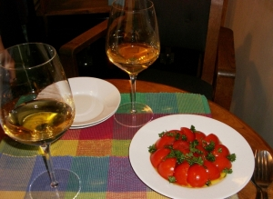 Gewurztraminer and fresh tomatoes